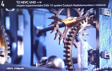 České experimentální vysílání v systému DVB-T2 s kódováním HEVC (LG 65UF950).