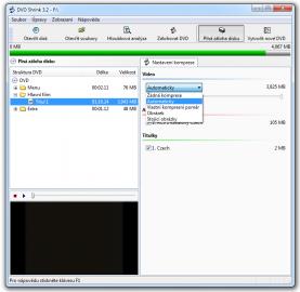 <p>Při plné záloze disku lze měnit kompresi obrazové stopy</p>