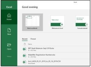 Otevření nového sešitu v programu MS Excel