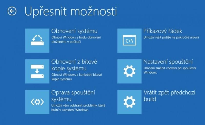 Upřesnění možností opravy ve Windows 10