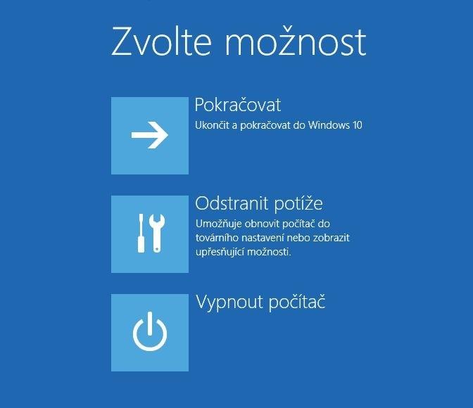 Výběr možností pro opravu Windows 10