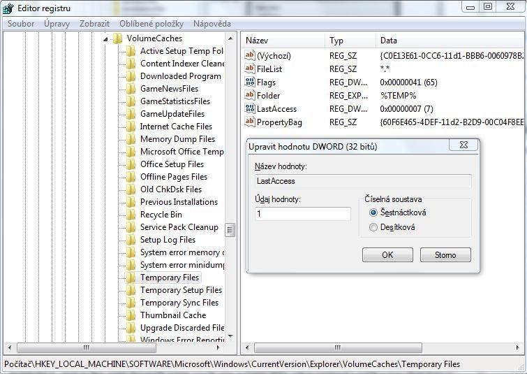 Standardně nástroj Vyčištění disku maže pouze ty soubory, které jsou staré minimálně týden. Stačí ale jednoduchá úprava registru, kterou můžete nastavit, aby se odstraňovaly soubory staré alespoň jeden den