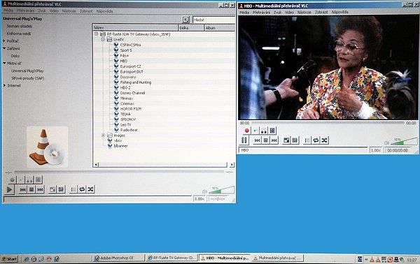 Toto jsou okna multimediálního přehrávače VLC Media Player, který je nutný pro sledování programů přímo na vašem PC. Obraz je možno sledovat v celoobrazovkovém režimu