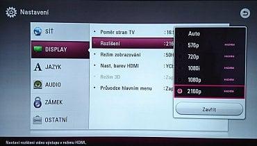 Jak vidíte, video výstup jde nastavit od 576p do 2160p pro televizor s rozlišením Ultra HD (4K). Využít se ale dá i automatika, která však v případě jediného napojovaného televizoru (LG 49UJ7507 – 4K) nepracovala vždy ideálně, a to především u DVD disků.