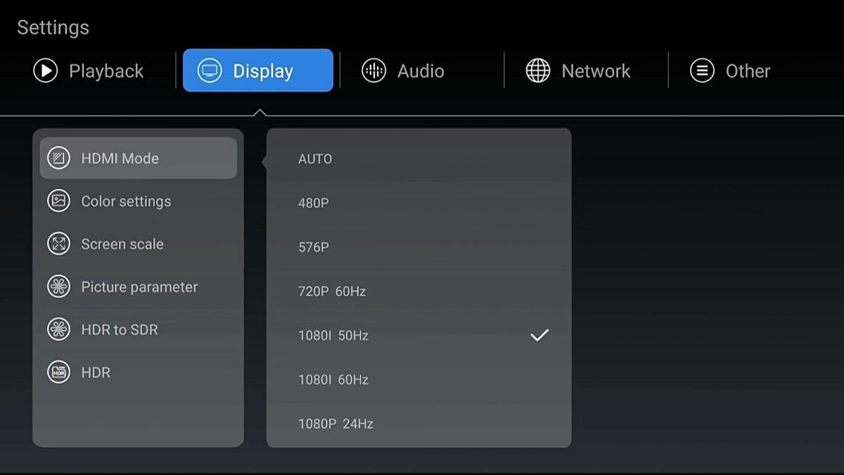 Zidoo Z1000 - nastavení přehrávání, obrazu a zvuku