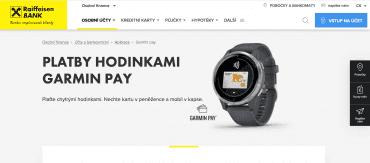 Od úterý 7. dubna 2020 Raiffeisenbank podporuje platby Garmin Pay u karet Mastercard.