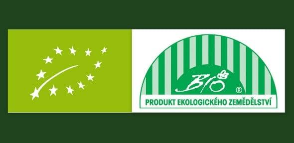 Zleva Logo EU pro bio potraviny, Grafický znak BIO, tzv. biozebra