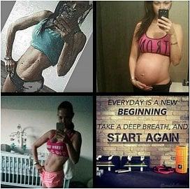 (Seshora zleva) Po dvou dětech, měsíc před porodem, 2,5 měsíce po třetím porodu