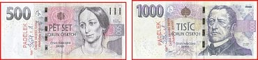 Padělané bankovky 500 Kč vzor 2009 a 1 000 Kč vzor 2008