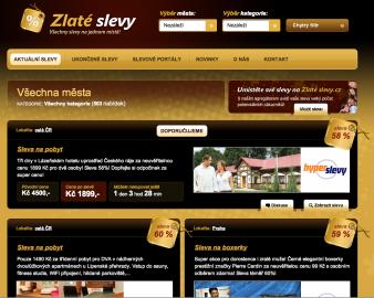 ZlatéSlevy.cz: atraktivní design, který poutá pozornost ke zboží a vizuálně atraktivně jej presentuje.