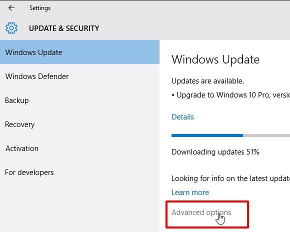 Pokročilé nastavení aktualizací ve Windows 10
