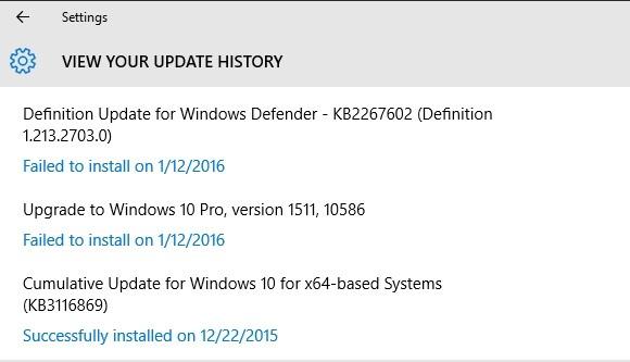 Seznam aktualizací ve Windows 10