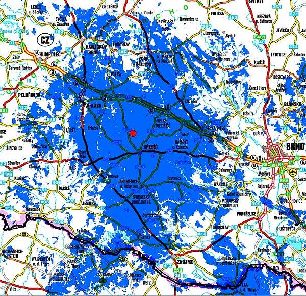 Předpokládaný zásah signálem multiplexu 4 na Třebíčsku.