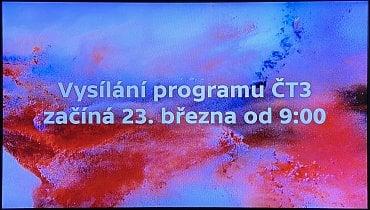Tento nápis uvidíte, pokud správně naladíte ČT3 před začátkem jejího vysílání.