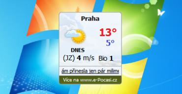 Miniaplikace e-Počasí zobrazuje aktuální teplotu přímo na ploše