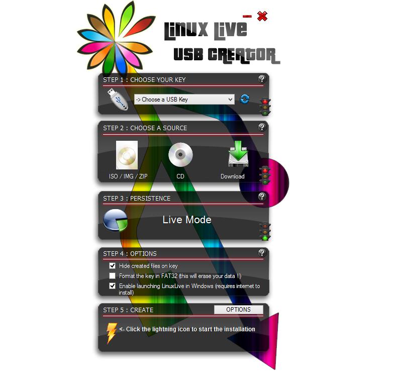 LinuxLive USB Creator vytvoří live CD na USB disk