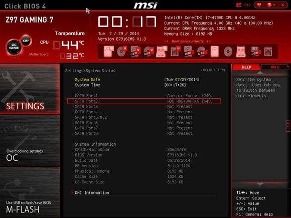 Rozhraní BIOS/UEFI zobrazuje všechny správně připojené a počítačem detekované pevné disky. Konkrétní provedení rozhraní BIOS/UEFI se liší v závislosti na provedení a modelu základní desky, proto je třeba případné další informace získat buď z manuálu dodaného se základní deskou, nebo z internetových stránek výrobce základní desky.