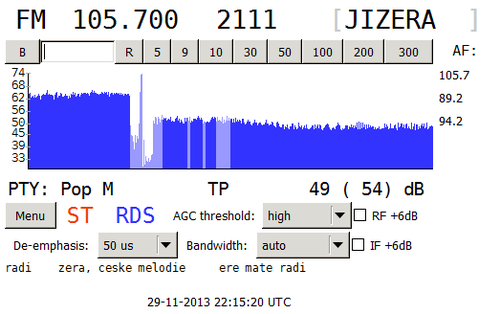 Původní RDS rozhlasové stanice Rádio Jizera