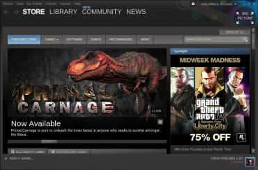Úvodní obrazovka linuxového klienta digitální distribuce Steam.