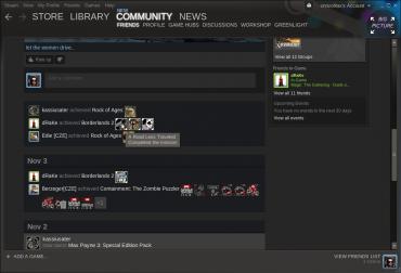 Podobně jako na Facebooku, má i Steam svou zeď. Tady vidíte aktivity svých přátel a jejich herní úspěchy.