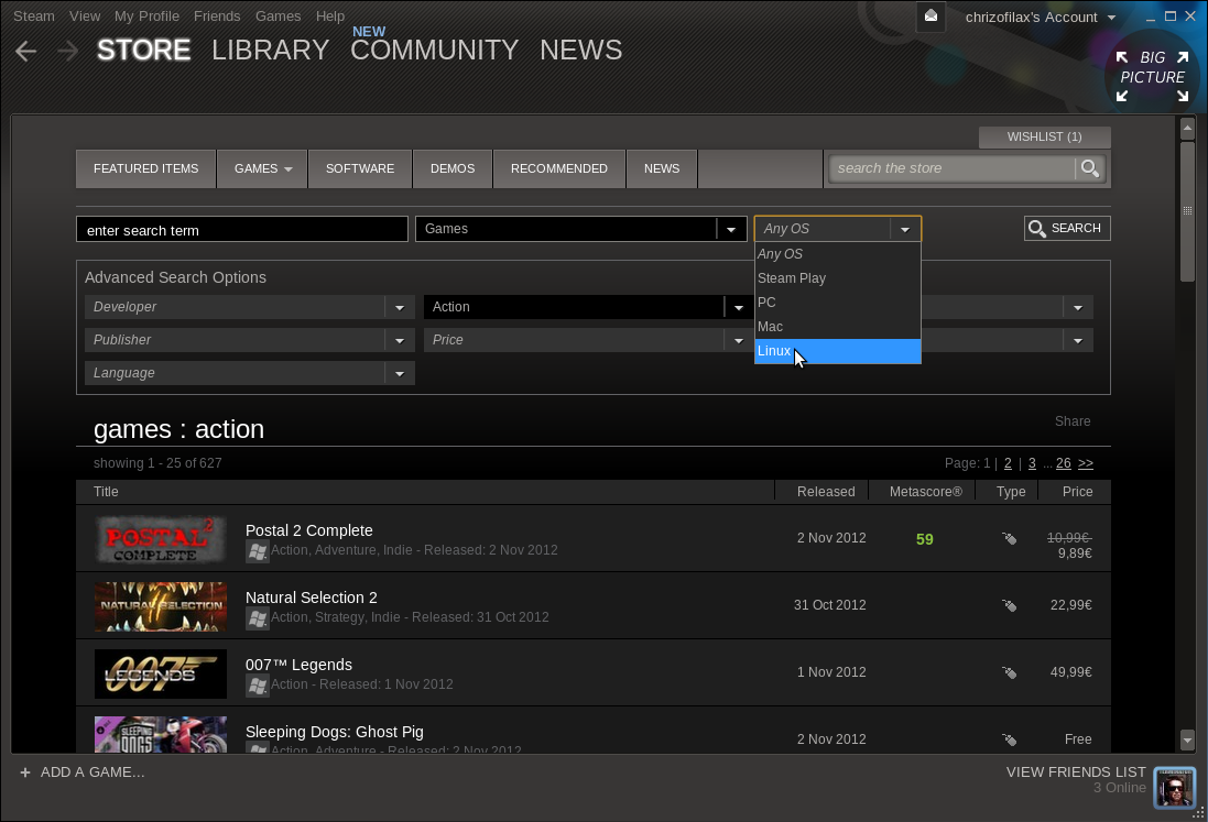 Linuxový klient digitální distribuce Steam