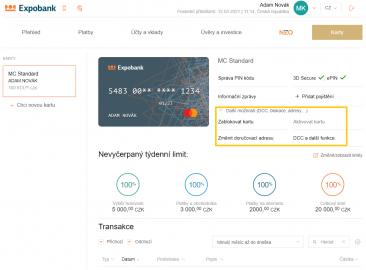Detail nastavení platební karty v Internet bankingu Expobank CZ