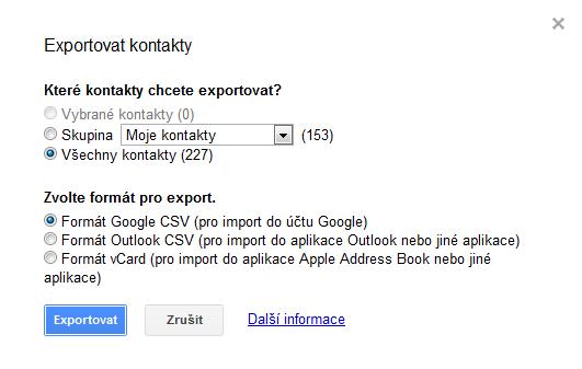 kontakty google - export