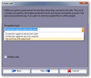 Volba metody pro šifrování.