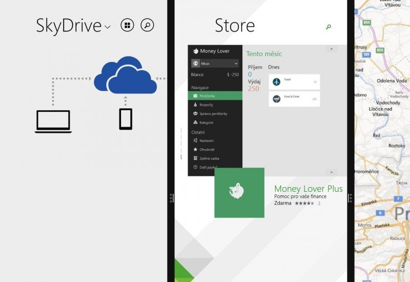 Aplikace OneDrive (dříve SkyDrive), Pošta a Zprávy přichycené po stranách obrazovky v operačním systému Windows 8.1