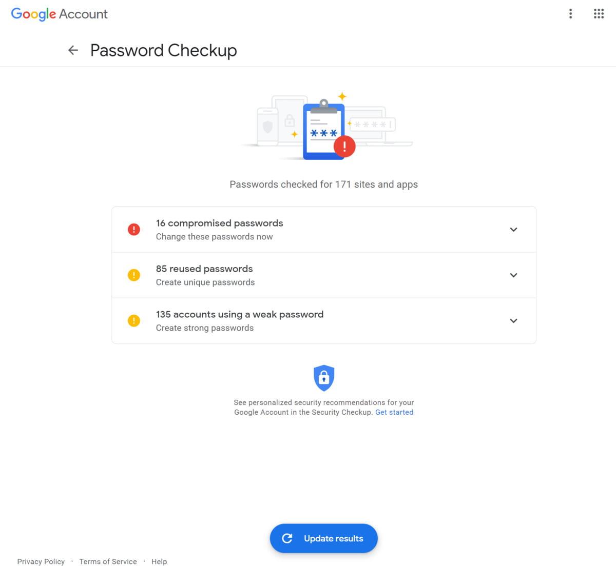 Kontrola hesel v podání Googlu má podobu hezky vyvedeného přehledu, v němž vidíte takřka na první pohled, zda náhodou nebylo vámi používané heslo zcizeno.
