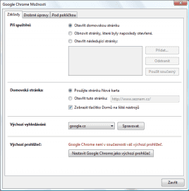 Možnosti nastavení Google Chrome