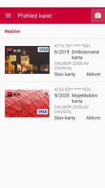 V Mobilní bance KB vidíte všechny aktivní vydané karty.