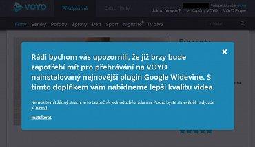 Textová informace, která se objeví návštěvníkům stránek Voyo.cz