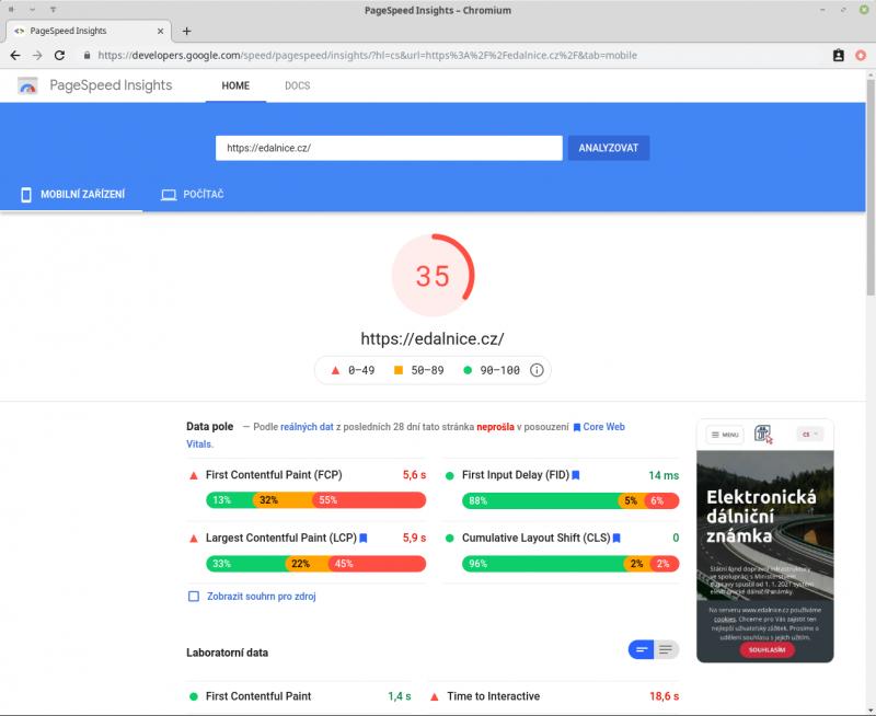 Měření rychlosti - PageSpeed Insights
