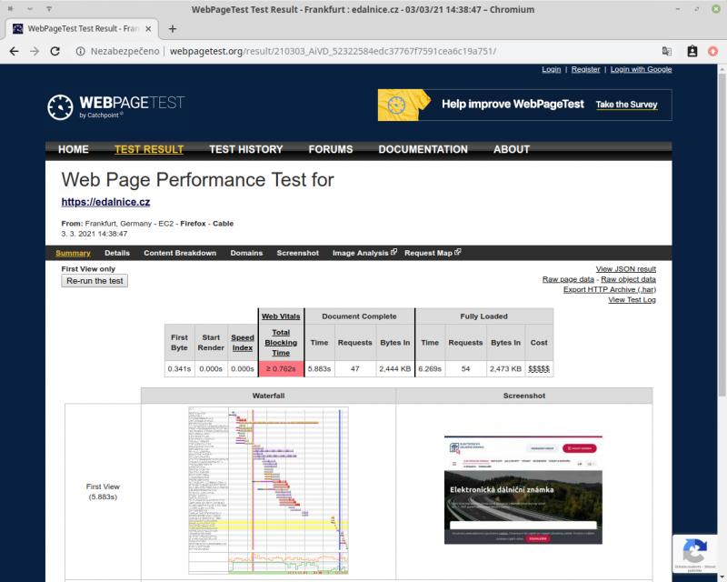 Měření rychlosti webu - webpagetest.org