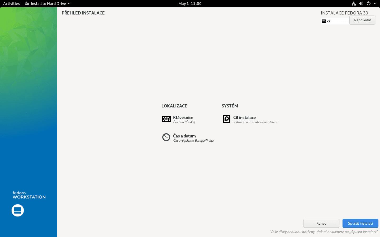Fedora 30 - instalace