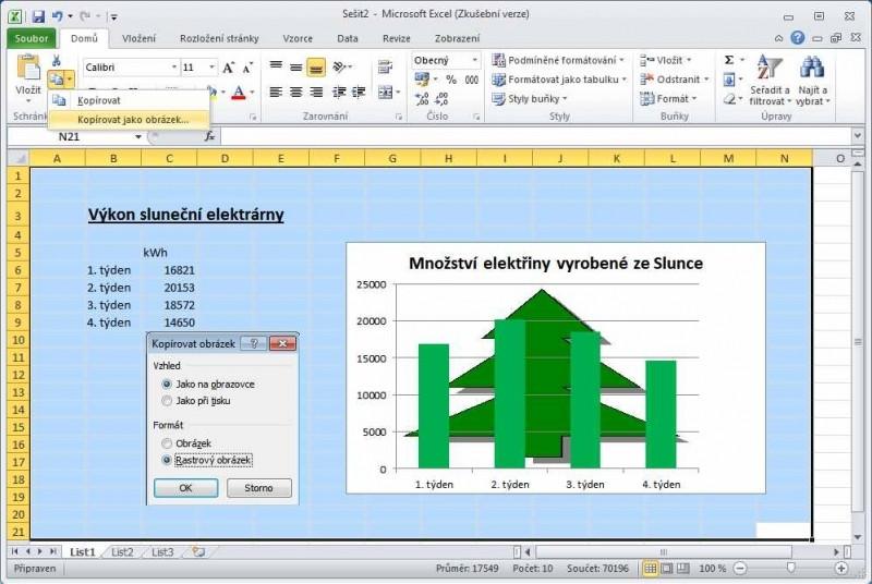 Uložení listu sešitu v Excelu v podobě obrázku