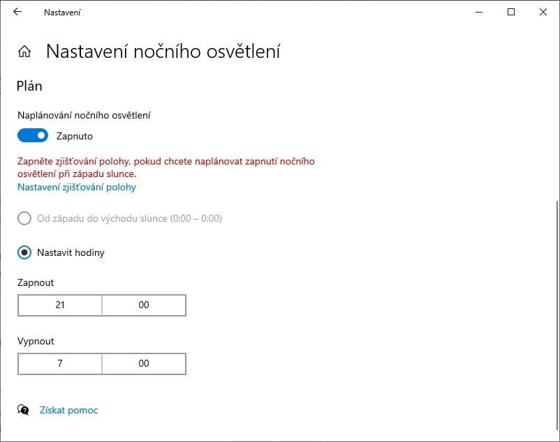 Night Shift Windows 10