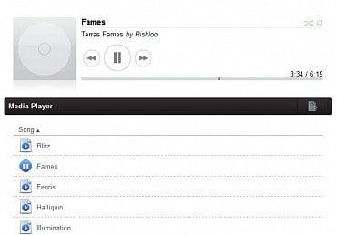 <p>Přehrávač Media Player a část playlistu. Media Player je zajímavým řešením pro přehrávání sdílené hudby</p>