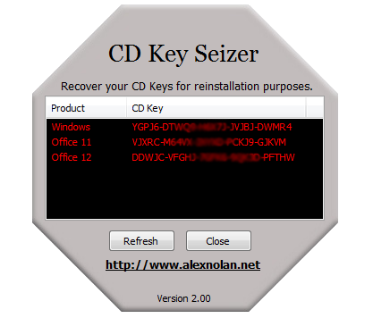 CD Key Seizer zjistí licenční číslo operačního systému a Office