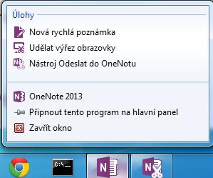 Seznam odkazů pro aplikaci OneNote 2013