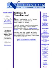 titulní stránka serveru Nupedia.com