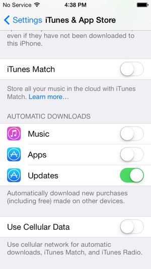 iOS 7 settings