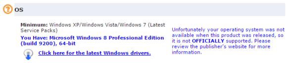 Služba Can You Run It má problém s tím, že na počítači běží Windows 8.1 – verze Windows, která není oficiálně podporována