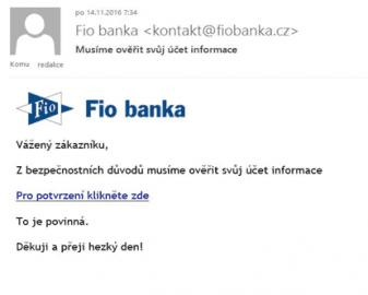 Pokus o phishingový útok na klienty Fio banky.