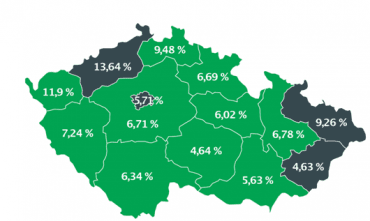 Podíl počtu osob se závazkem po splatnosti v negativním registru SOLUS na celkovém počtu obyvatel ve věku 18 let a více v jednotlivých krajích.