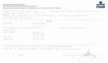 Pokladní doklad z ČSOB o provedení vkladu hotovosti na účet do Citibank.