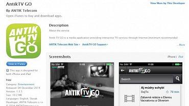 Aplikace Antik TV Go v Apple AppStore. Existuje ale i verze mobilní televize pro Android a Windows.
