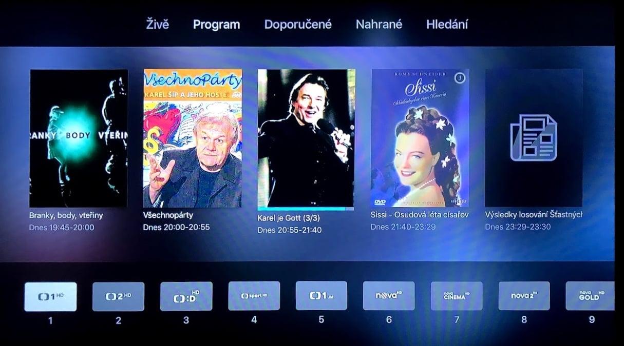 Aplikace Digi TV na Apple TV: Aktuální program stanice