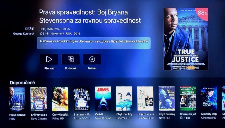 Sekce Doporučujeme v aplikaci Digi TV na Apple TV